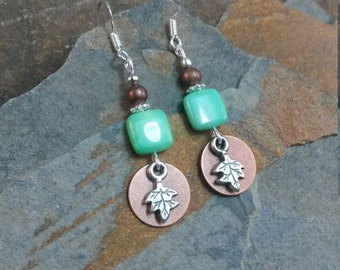 Copper and Green Silver Leaf Sterling Silver Earrings, Copper Leaf Earrings, Copper Green Silver Earrings