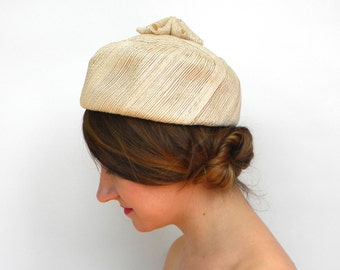 Vintage Hat 60s Ivory Pillbox Hat   Woven Hat with Flower