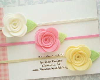 Felt Flower Headband Set, Felt Headband, Baby Flower Headband, Pink and Yellow Headband, Baby Headband Set, Baby Headband Toddler Headband