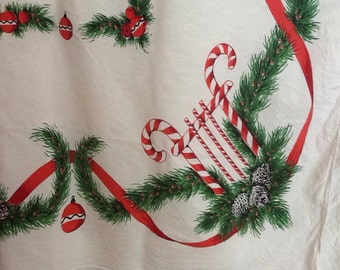 Vintage Christmas  Tablecloth Candy Canes Garland Greenery Ornaments