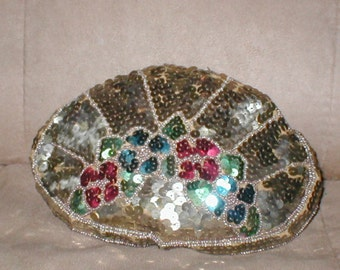 Antique 1920's Gold Beaded Evening Bag Purse