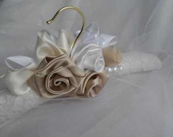 IVORY    Bridal Padded Hanger, Wedding Gown Hanger , Bridal Gown Hanger, Shades  of  Champagne / Ivory /  Taupe , Pearls,