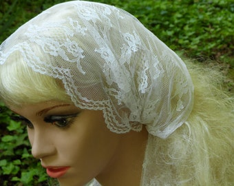 WHITE  LACE, Religious Headcovering, Headband Head Scarf. Prayer Headcoveing,  Tichel Headcovering,  Wedding, Head Veil Covering,