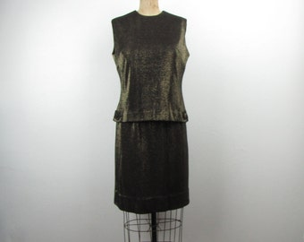 Vintage 1960s Black with Gold Metallic Sparkle Thread Two Piece Cocktail Dress from Candy