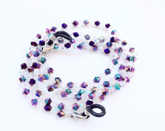 Eyeglasses holder aurora borealis purple black faceted crystals beads beautiful eyeglasses neck chain glasses holder necklace N32