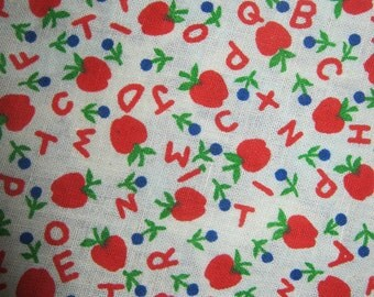 Child's Apron, alphabet red and blue Montessori style reversible apron