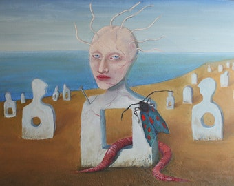 surreal oil painting on canvas / Transformation / weird art