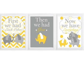 First We Had Each Other , then we had you, now we have everything -Elephant Nursery Decor, -set of 3 Chevron Elephant Nursery Art Trio
