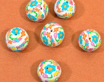 6 Polymer Clay Beads inspired by Lilly Pulitzer