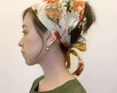 Head Scarf,  Japanese print cotton white Floral, beach, Summer, Spring, Japanese pint headwrap, woman headwrap