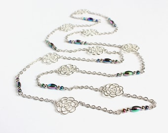 Silver Roses Long Necklace