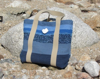 Womens Summer Tote Bag, Nautical Beach Cottage Shoulder Bag, Ocean Sea Blue Fashion Bag, Woven Large Purse Market Bag, Overnight Travel Bag