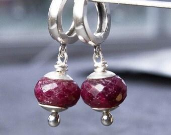 Ruby Earrings. Hoop Earrings. Sterling Silver Earrings. July Birthstone. Ruby Jewelry. Birthstone Jewelry. Women. Gift Under 50