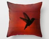 "Hummingbird PILLOW 16"" 18"" 20"" square Jewel tones red green blue purple pink you choose Throw Pillow"