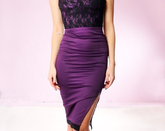 Vixen Wiggle Dress in Plum and Black Lace