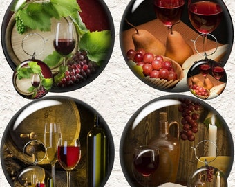 """Wine Coaster Set 3.5"""" in Size  With or Without a Matching Set of 4 Wine Charms 1.5"""" - 014WC"""