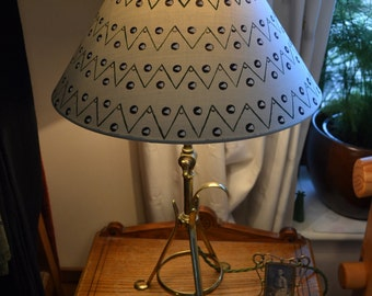Lacoona Tribe of Me - Hand painted cotton coolie lamp shade in an abstract geometric black white mint green pattern