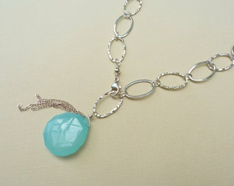 Statement Necklace, Sterling Silver Chain Necklace, Chalcedony Pendant, Aqua Blue Chalcedony Pendant, Clasp In Front, Summer Jewelry, Beach