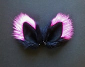 Neon Pink and Black Faux Fur Ears Fox Cat Wolf Dog Clips Halloween Costume Cosplay