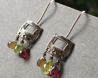 Unique earrings. Peridot Garnet Citrine Gemstone.  Oxidized silver