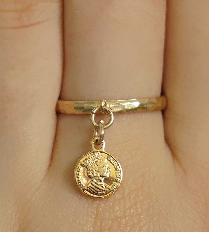 gold ring dangle ring stacking rings band ring tiny by