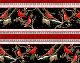 The Cardinal Rule from Wilmington Prints - Full or Half Yard Cardinal Stripe Christmas Winter Decor