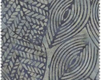 Java Indigo from Fresh Water Designs - Full or Half Yard Batik Geometric Leaves in Gray and Indigo