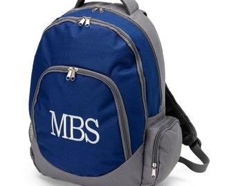 Navy and Gray Backpack - Free Personalization