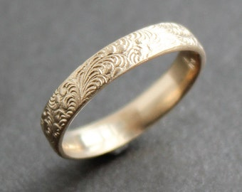 14K Solid Gold Feather Pattern Ring  - Wedding Band - Made to Order - Art Deco - Art Nouveau