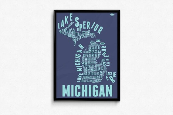 MICHIGAN County Map Poster