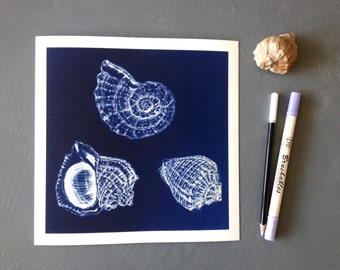 Seashell Art Print - sea shell art -  coastal wall art - nautical art - Nautical Decor - sea shells drawing