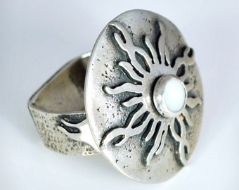 Sterling Silver Sun Moon Ring With White Mother Of Pearl Stone, Statement Ring, Jewelry Gift, JewelryByNaomi, Rings, Sun Rings, Handcrafted
