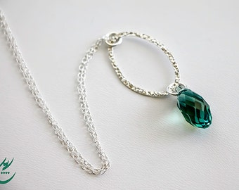 Ernite Green Teardrop Swarovski Crystal Pendant with Sterling Silver Chain Necklace, Oval Pendant Necklace, Minimalist Dainty Necklace,