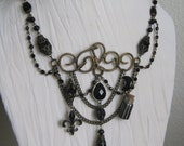 Custom for Zombina - The Serpent - Vintage Assemblage Festoon Statement Necklace with Antique French Jet and Onyx OOAK Signed JeanieSchlegel
