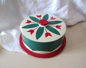 Metal Cake Carrier Red and Green Tulip Design