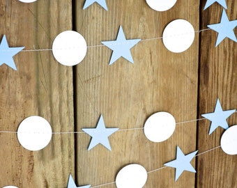 Stars and Circles Garland, 10 feet long - choose your colors!