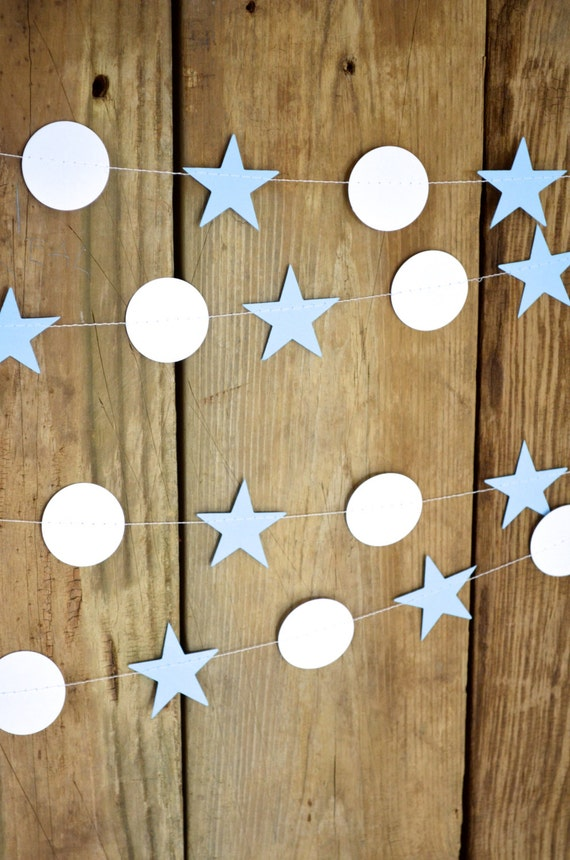 Stars and Circles Garland, 10 feet long - choose your colors!