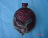 Vintage Pottery Pomegranate Shaped Covered Bowl/Dish - Made in Macau