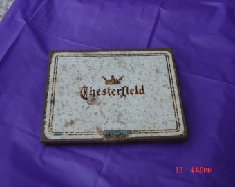 Antique Chesterfield Cigarette Hinged Tin - Rusty Shabby Tin