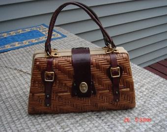 Vintage Wicker/Straw/Raffia and Leather Purse with Chevron Decor - Unique Chic