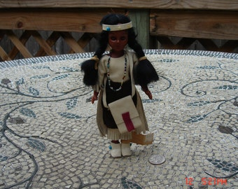 Vintage Reservation Hand Crafted Oglala Sioux Indian Doll - Leather Clothing/Bag