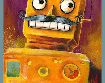 Vintage Robot Mustache Humor  8x10 Print