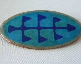 Danish Modern Enamel Brooch Pin Blues Abstract Signed Ragna Denmark Vintage Mid Century Modern