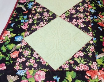 Humming Birds Table Runner Quilted Runner, Black, Pink,Green, Made in USA, Handmade Table Mat