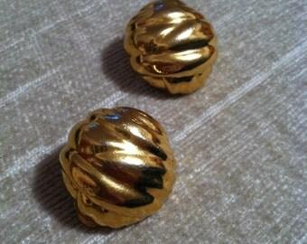 Wavy Gold Tone Vintage YSL Button Clip Earrings