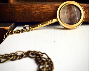 Working Magnifying Glass Pendant Necklace / Pick Your Length / Steampunk Pirate Costume Victorian Brass Renaissance Faire Post Apocalyptic