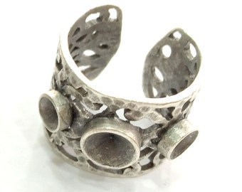 Adjustable Ring Blank (4mm and 5mm Blank) , Antique Silver Plated Brass G3527