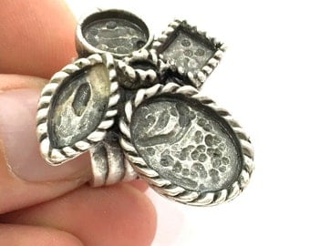 Adjustable Ring Blank, Antique Silver Plated Brass G3553