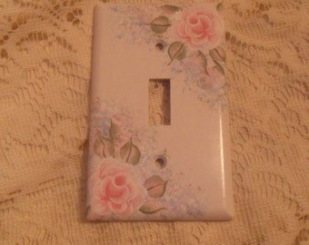 Shabby Cottage Chic Hand Painted Pale Rose With Blue Floral Single Light Switch Cover