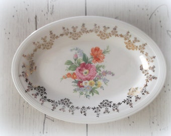 Oval Ironstone Platter Edwin M. Knowles China Semi Vitreous 22K Gold Trim Shabby Cottage Floral Plate